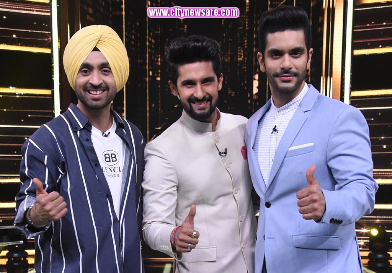 Host Ravi Dubey with Diljit Dosanjh and Angad Bedi on Sabse Smart Kaun