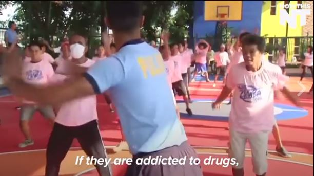 Former drug addicts take mandatory Zumba classes