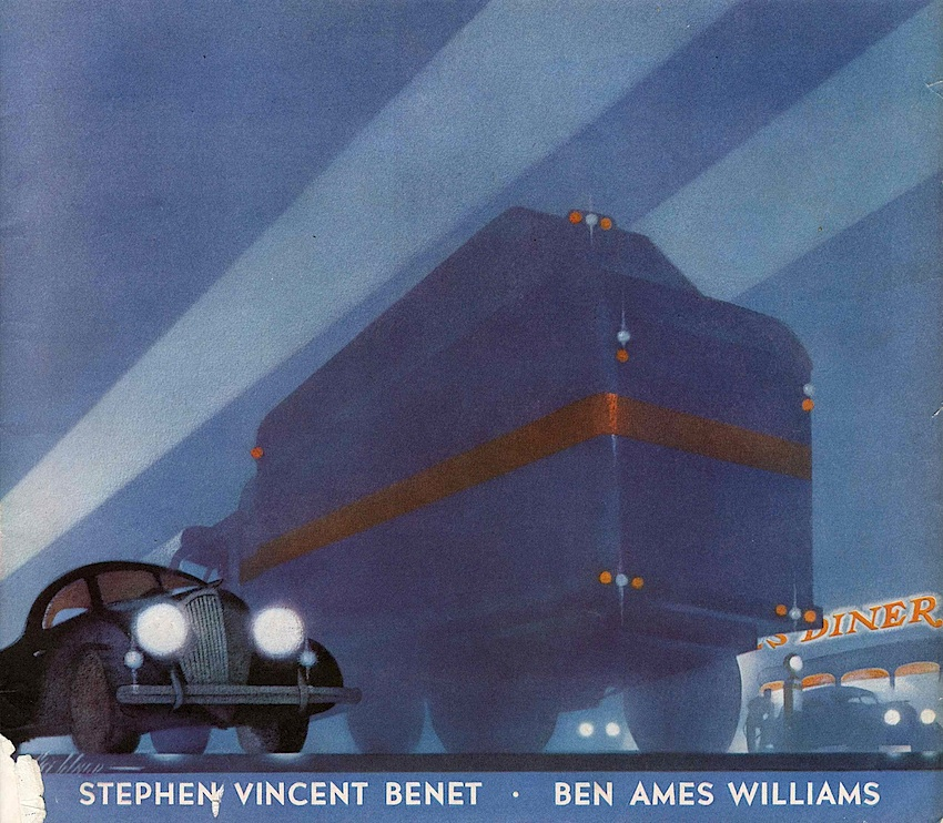 A 1938 illustration of foggy traffic at night