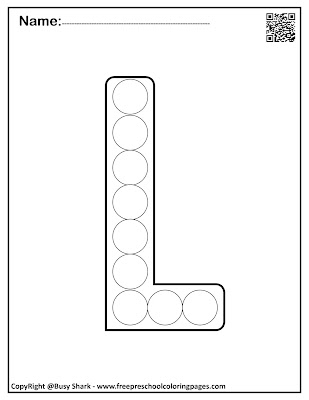 Letter L dot markers free preschool coloring pages ,learn alphabet ABC for toddlers
