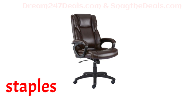 Staples Kelburne Luxura Faux Leather Computer and Desk Chair, Brown (50870)