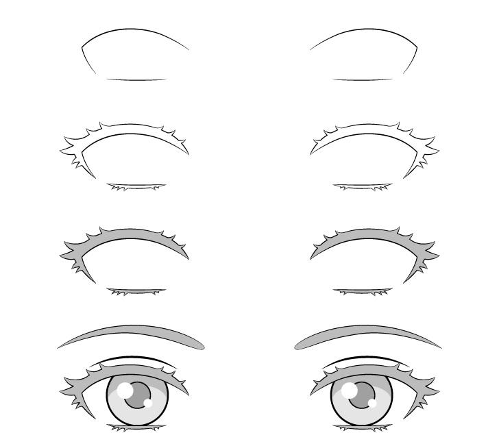 Garis besar anime menggambar bulu mata selangkah demi selangkah