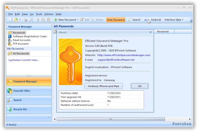 Efficient password manager pro giveaway