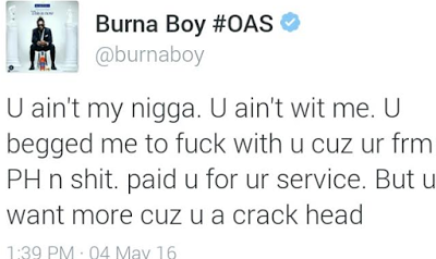 Burna Boy & his producer clash on twitter over the leak of a song, unpaid debts