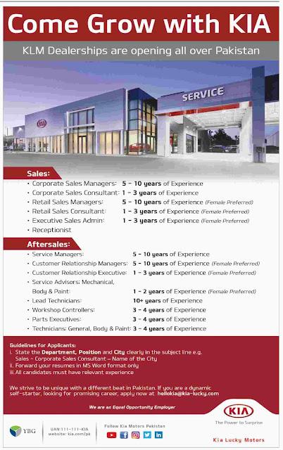 ➨ #Jobs - #Career_Opportunities - #Jobs - KIA Motors Pakistan –for application visit the link