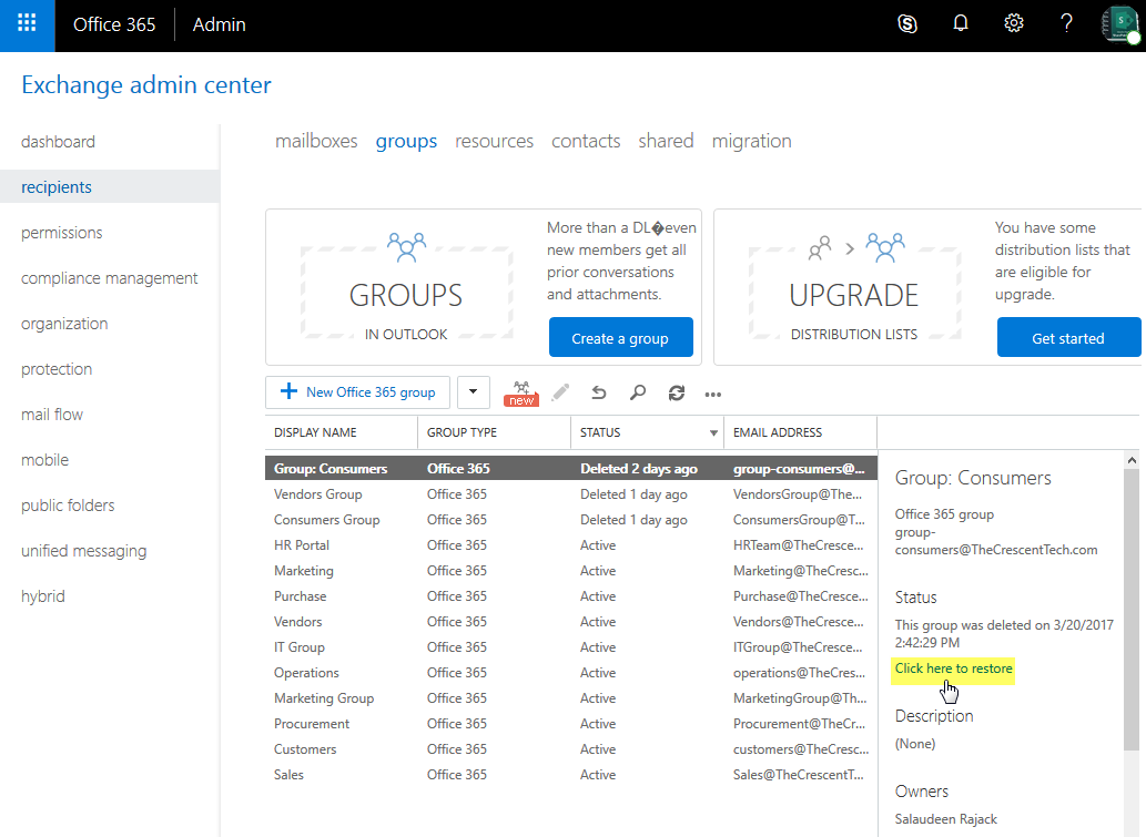 recover office 365 group powershell