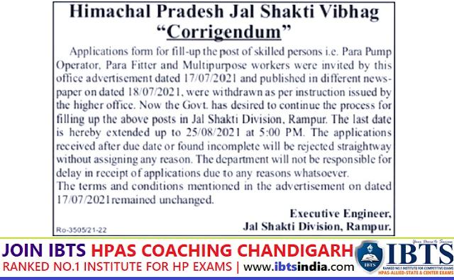 Jal Shakti Vibhag Rampur Recruitment 2021