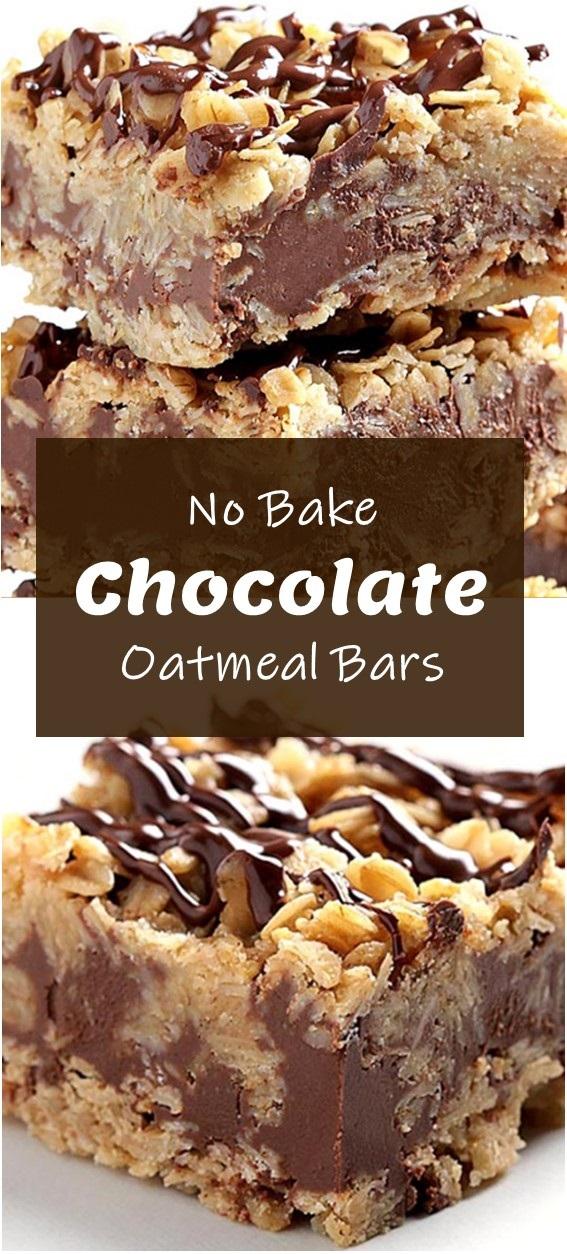 No Bake Chocolate Oatmeal Bars #healthyrecipe #breakfast #cookie