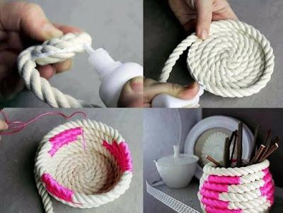 Manualidad : Porta lápices hecho con cuerda