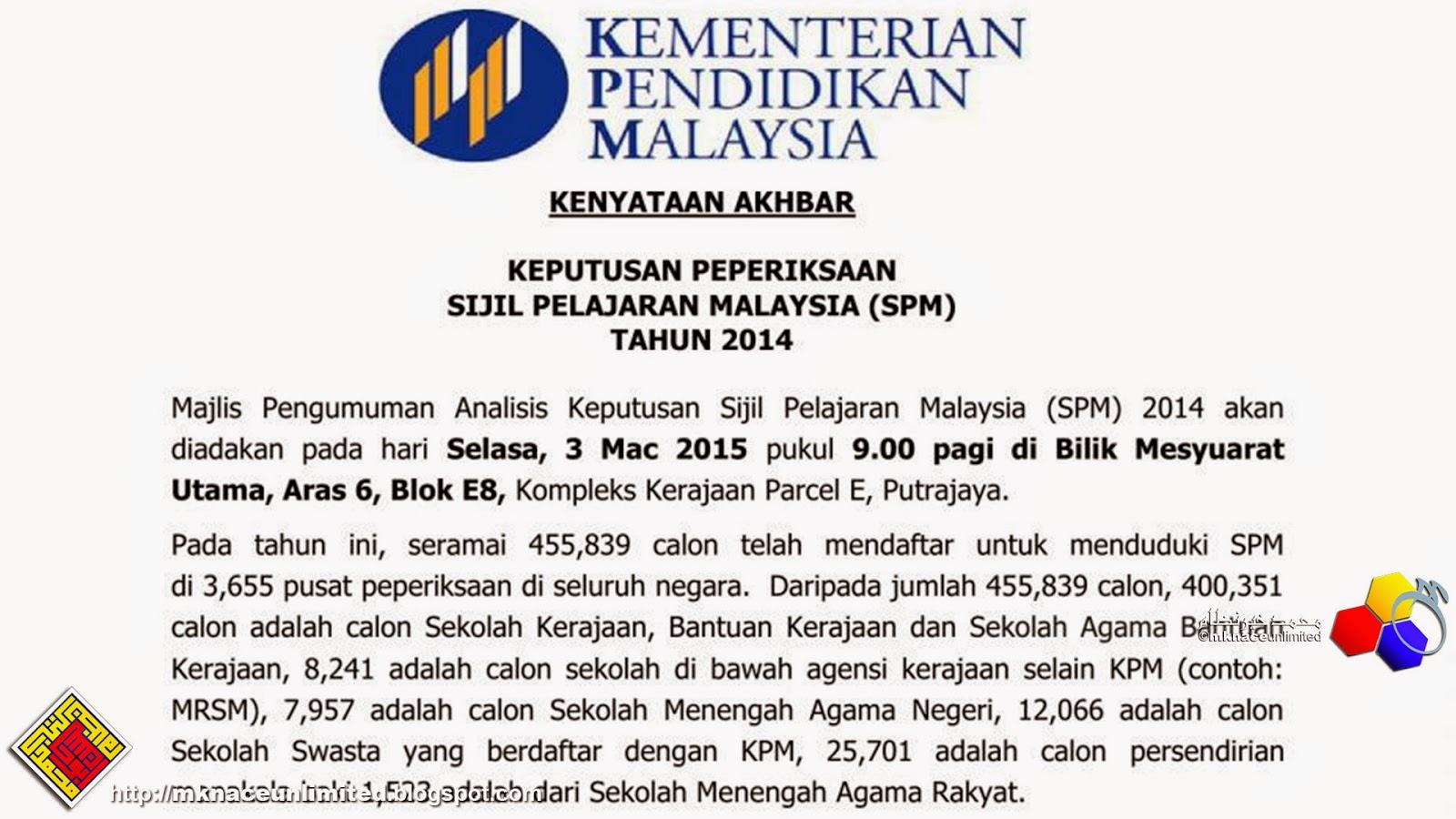 KENYATAAN AKHBAR  KEPUTUSAN PEPERIKSAAN SIJIL PELAJARAN MALAYSIA (SPM)  TAHUN 2014 66c865a6fa
