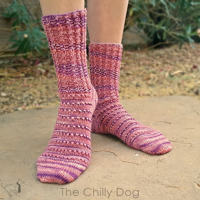 Twisted Cable Rib is a pretty and simple variation of basic k2, p2 and is use in the cuff of these knit Azalea Socks.