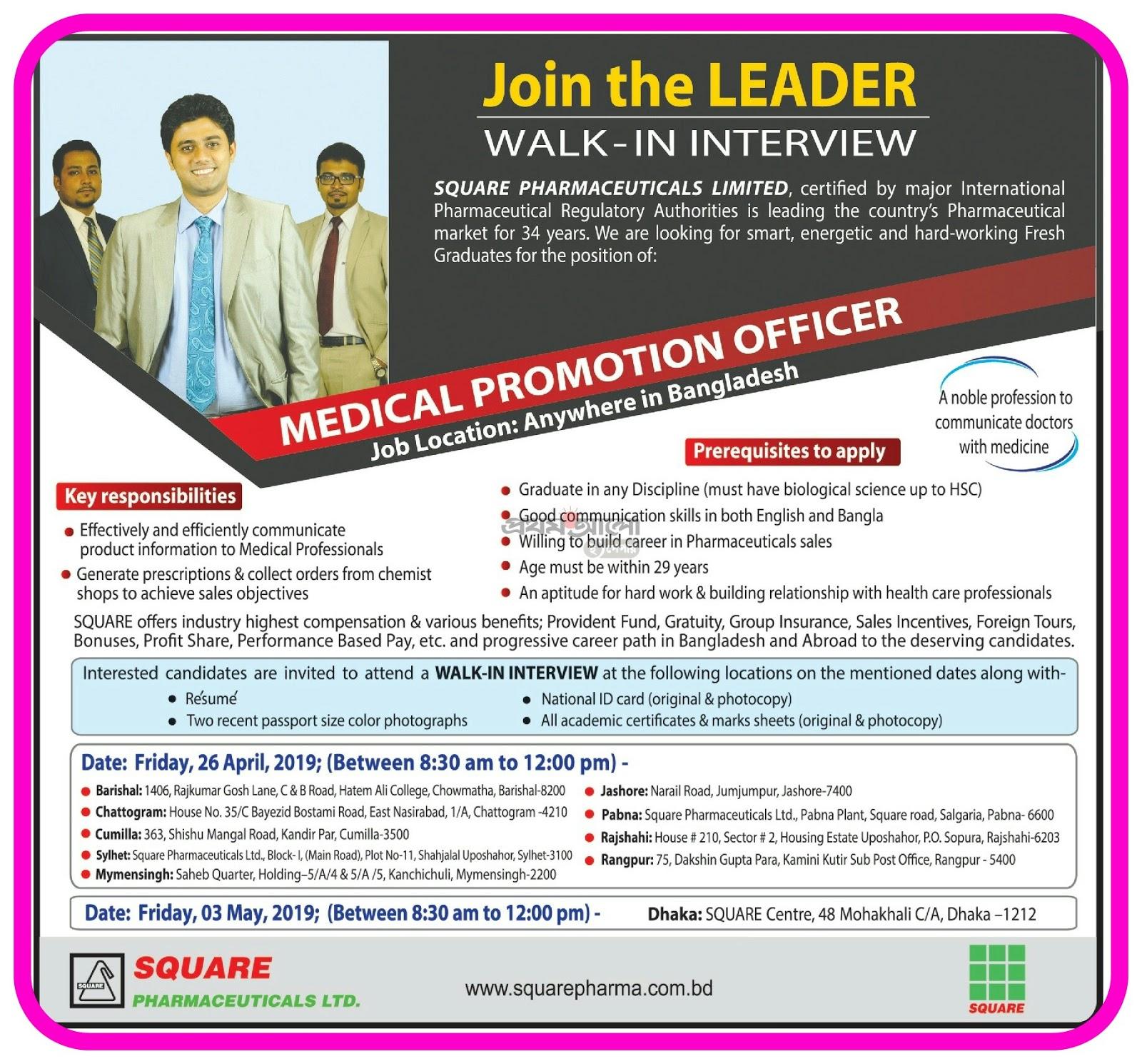 Squre Pharmaceuticals job circuler published 21 Afril 2019