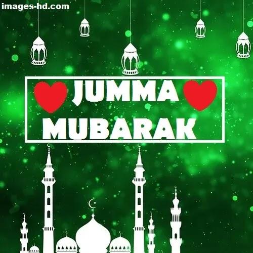 white masjid with green background as Jumma Mubarak DP