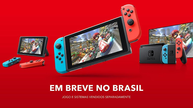 Nintendo Switch coming soon to Brazil Portuguese em breve no brasil Mario Kart 8 Deluxe