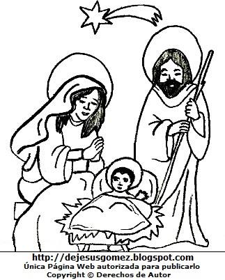 Dibujo del Nacimiento de Jesús para niños (Para colorear pintar imprimir recorta y pegar). Dibujo de Jesús hecho por Jesus Gómez