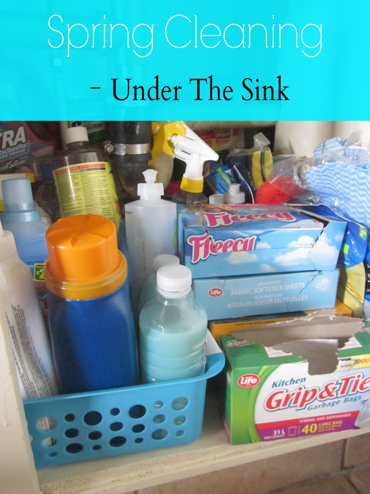 spring cleaning under the kitchen sink