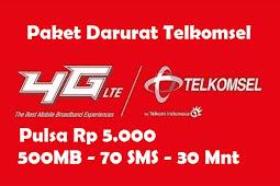 Cara Daftar Paket Darurat Telkomsel Pulsa Rp 5000, 500MB, 75 Menit, 30 SMS