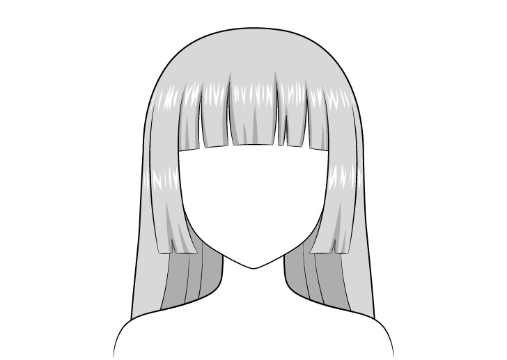 Anime hime memotong gambar highlight rambut