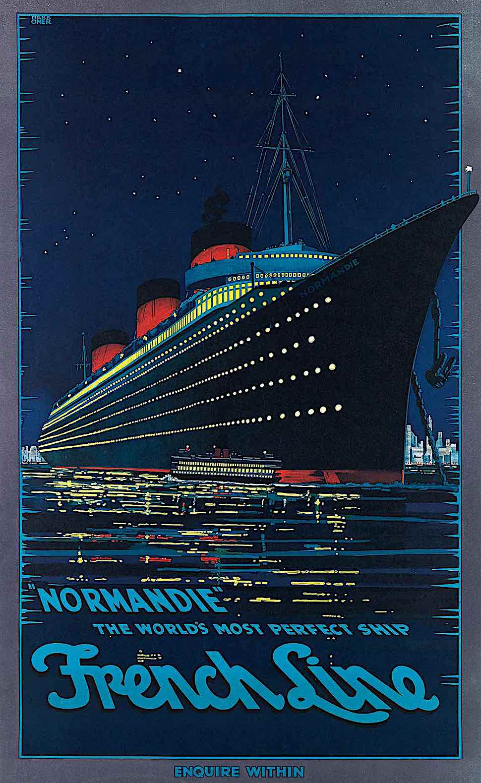 a Hubert Herkomer red yellow blue poster illustration 1939 for French Line Cruise Ship Normandie