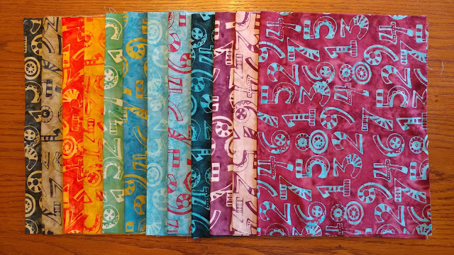 Island Batik fabrics with numbers from the Little Sir Little Miss collection