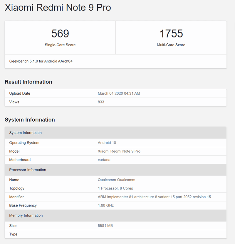Redmi Note 9 Pro at Geekbench