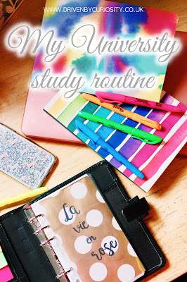 My university study routine during the semester