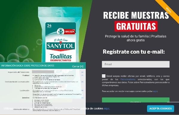 Sanytol no está ofreciendo por correo electrónico muestras gratis de toallitas desinfectantes