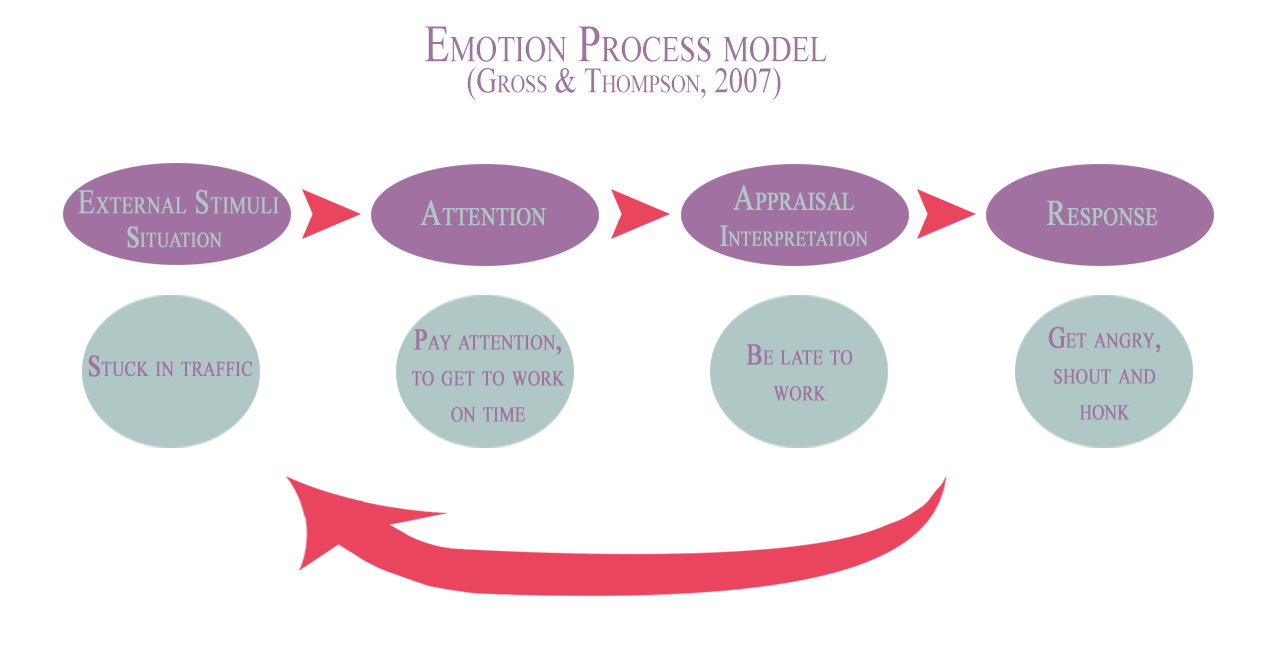 emotions process model, Gross and Thompson, 2007
