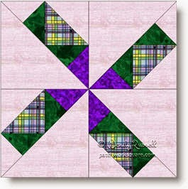 """Turning Stars"" quilt block image © W. Russell, patchworksquare.com"