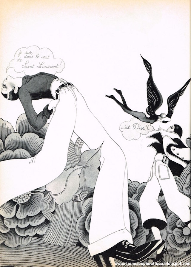 Yves Saint-Laurent and Christian Dior Paris Fashion illustration Hélène Majera.1970