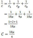 Pengitungan kapasitas total yang tersusun seri tidak identik