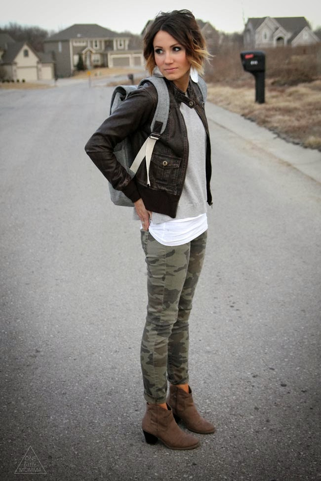 Leather jacket, Everlane backpack and camo skinnies and ankle boots