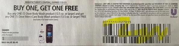 dove body wash coupon b1g1 free