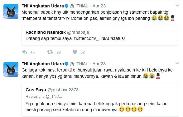 Usai Jelekin Ahok, Jubir Demokrat Ini Keok & Tak Menyangka Bakal Kena Sambar Akun Twitter TNI AU
