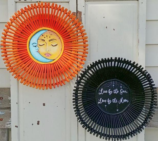 Repurposed Rattan Baskets Sun & Moon Paintings
