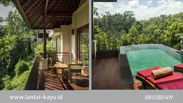 pemasangan lantai kayu merbau di Villa Bali