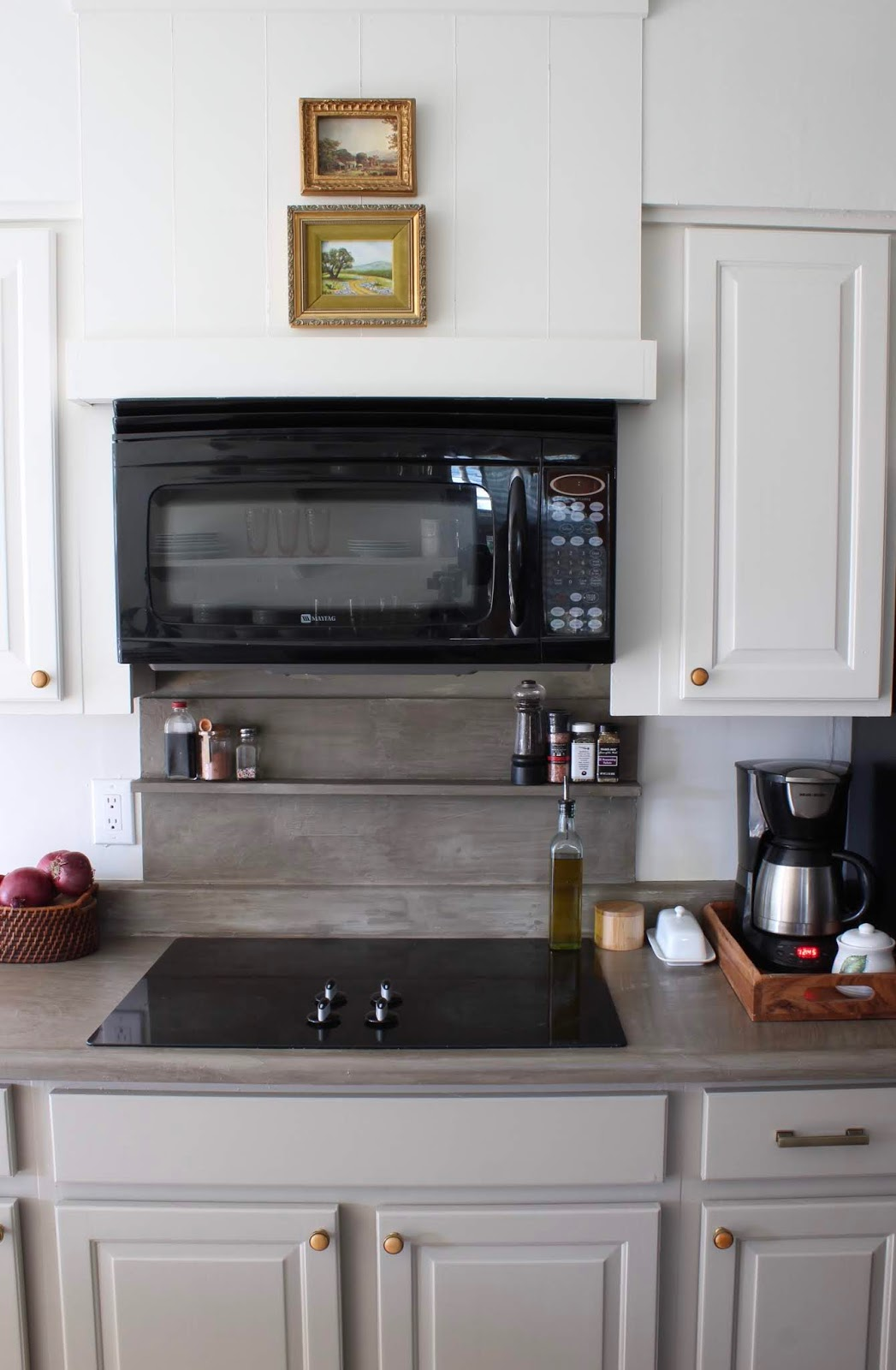 One room challenge budget kitchen makeover: add vent hood cover above microwave. Concrete ledge for spices | House Homemade