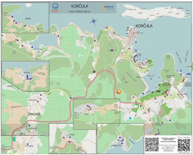 Mapa dos povoados de Korcula – Croácia