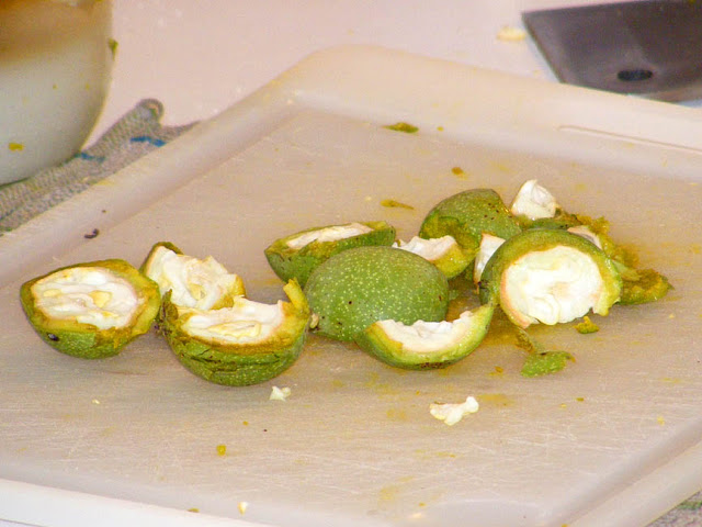 Green walnuts, chopped up for homemade liqueur. Photo by Loire Valley Time Travel.