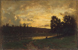 Landscape with a Sunset by Theodore Rousseau - Landscape Paintings from Hermitage Museum