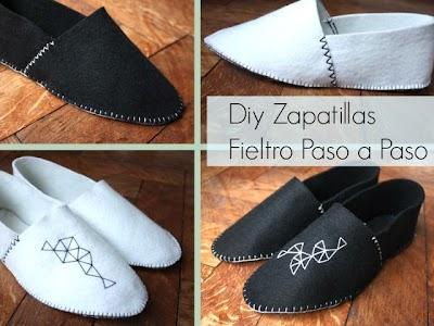 Zapatillas de Fieltro imitando a las de Esparto