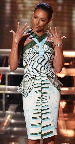 Mel B Peter Pilotto pleated graphic dress | X Factor Live Shows Week 5
