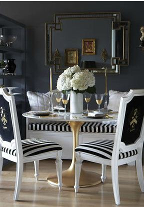 black white gold decor dining room