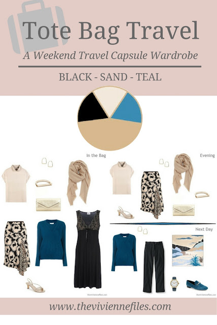 A weekend travel capsule wardrobe in a Black, Sand, and Teal color palette