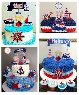 Osito Marinero: Toppers para Tartas, Tortas, Pasteles, Bizcochos o Cakes para Imprimir Gratis.