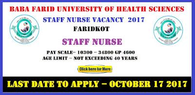 Baba Farid University of Health Sciences Faridkot Staff Nurse Vacancy  2017