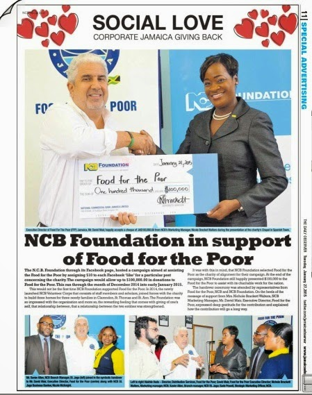 FOOD FOR THE POOR JAMAICA: FFP RECEIVES $100,000 FROM NCB