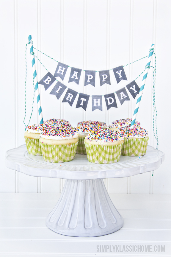 image about Happy Birthday Cake Topper Printable referred to as 37 Birthday Printables Cakes and a GIVEAWAY! - Yellow