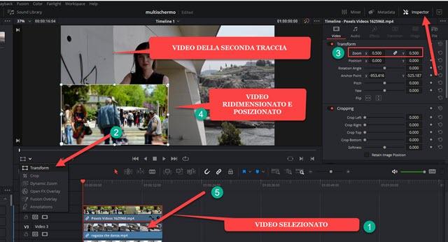 ridimensionare e posizionare video
