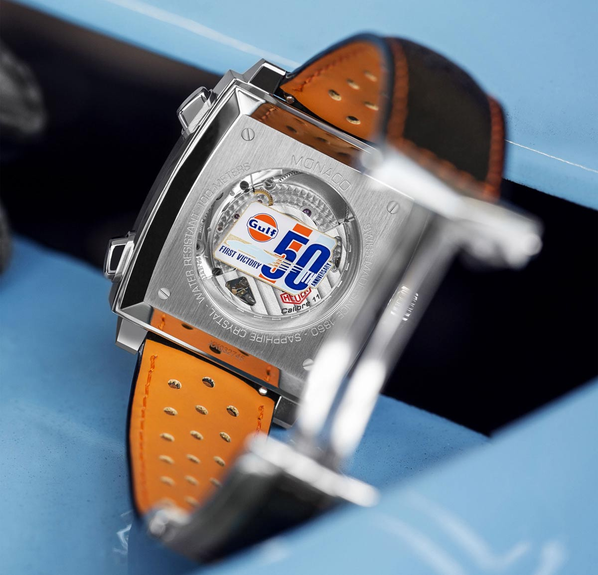 tag heuer monaco gulf special edition 50th anniversary. Black Bedroom Furniture Sets. Home Design Ideas